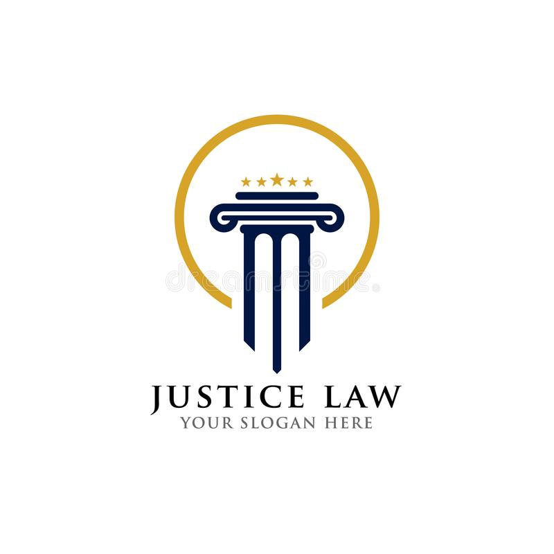 Gerechtigkeitsgesetzeslogo-Designschablone Rechtsanwaltslogo mit Säule und Stern formen Illustration vektor abbildung