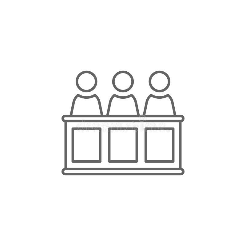 Gerechtigkeitsjury-Entwurfsikone Elemente der Gesetzesillustrationslinie Ikone Zeichen, Symbole und Vektoren können für Netz, Log vektor abbildung
