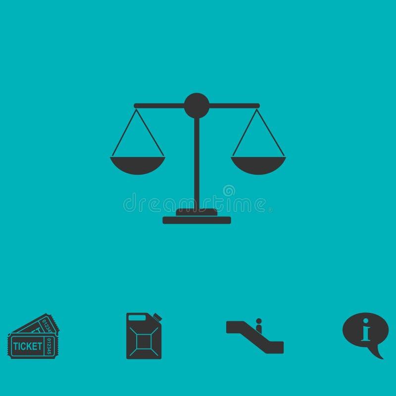 Gerechtigkeitsskalaikone flach lizenzfreie abbildung