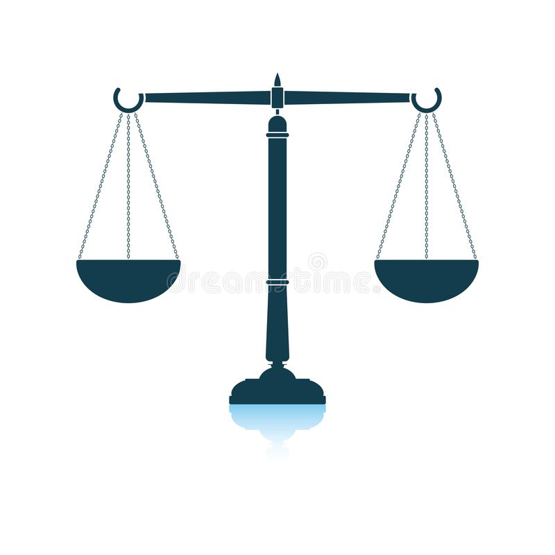 Gerechtigkeitsskalaikone stock abbildung