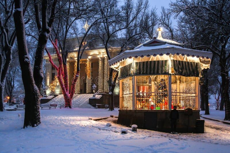 Gerechtsgebouw en gazebo in de sneeuw royalty-vrije stock fotografie