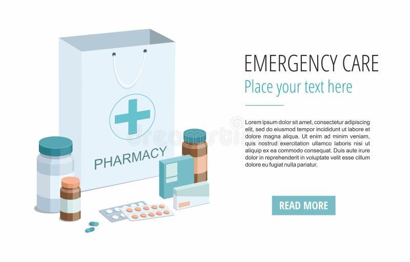 Gerecycleerde document zak met medische apparatuur en apotheek op wit 3d vector illustratie