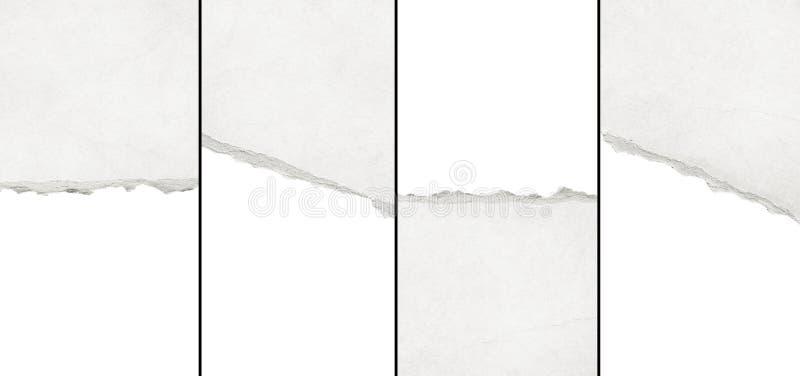 Gerecycleerde wit gescheurde horizontale notadocument textuur, lichte achtergrond royalty-vrije stock afbeelding