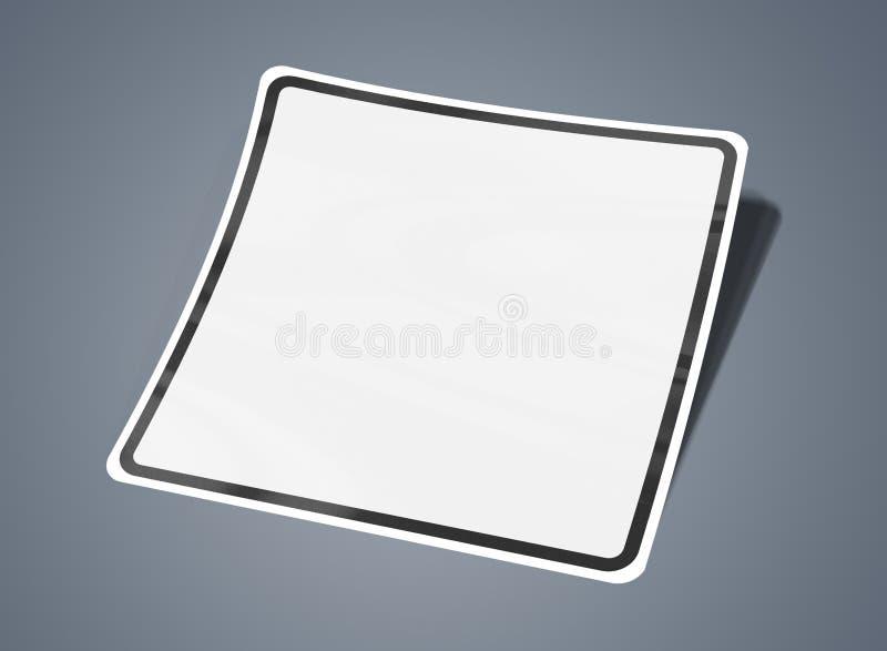 Geregeld gevormd die stickermodel bij het grijze 3D teruggeven wordt geïsoleerd stock illustratie