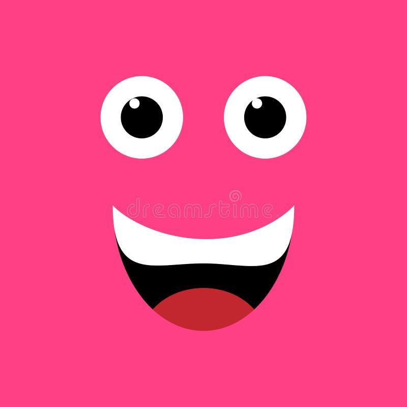 Geregelde emotie Vlak Ontwerp Rood het glimlachen gezicht stock illustratie