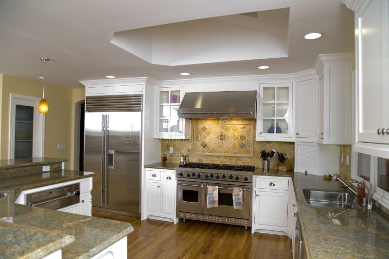 Geremodelleerde Luxueuze Moderne Keuken stock foto's