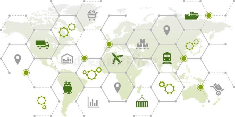 Gerenciamento da cadeia de suprimentos - transporte, comércio & logística: ilustração ilustração royalty free