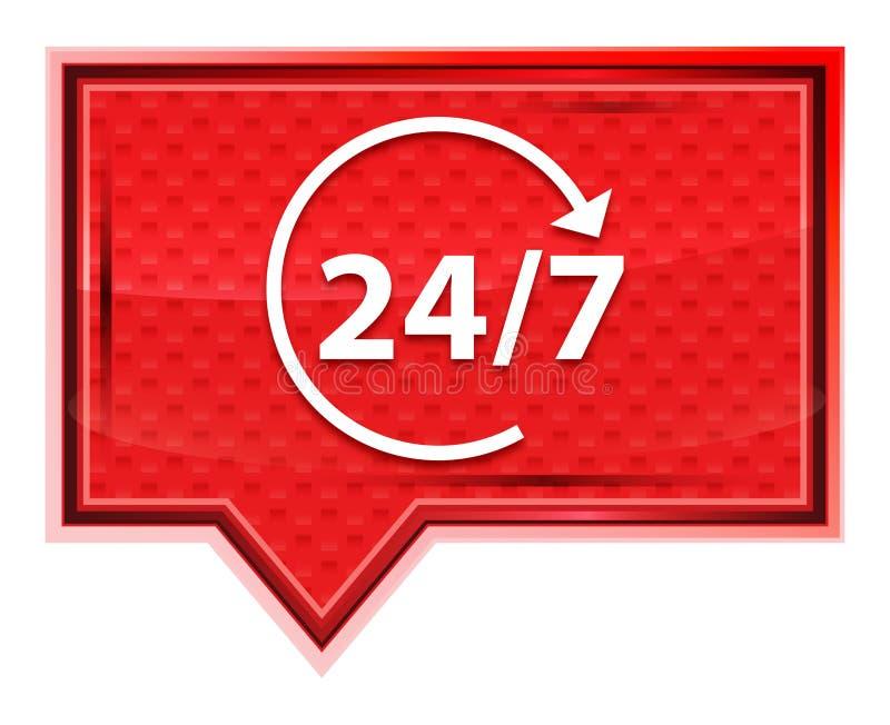 24/7 gerenciem o ícone da seta enevoado aumentaram botão cor-de-rosa da bandeira ilustração stock