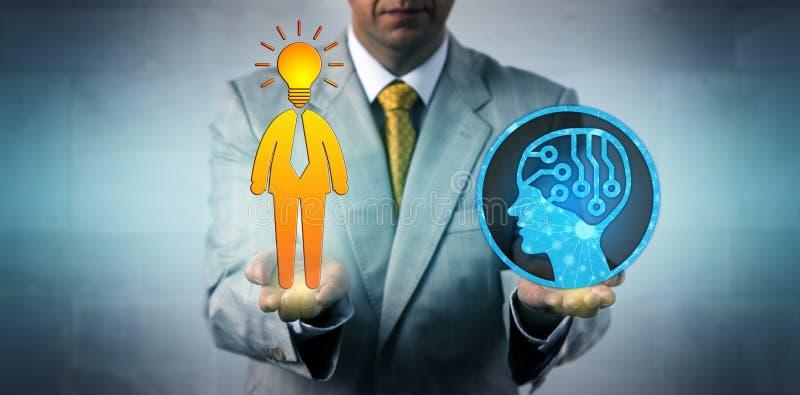 Gerente Balancing AI e empregado humano brilhante fotos de stock royalty free