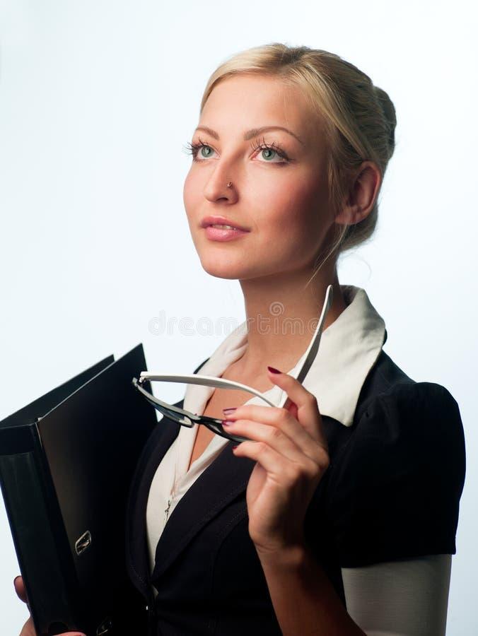 Gerente com vidros e um dobrador fotos de stock royalty free