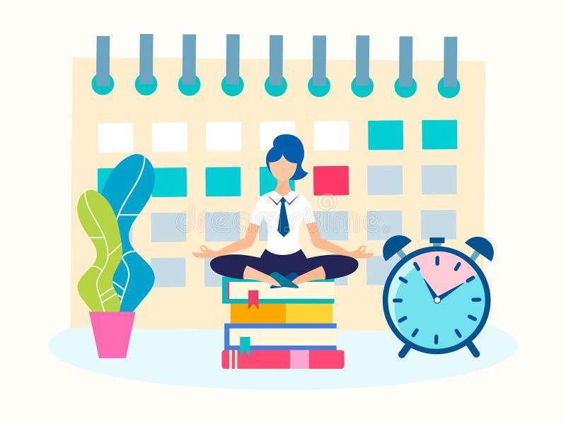 Gerente da menina no escritório que medita na posição de Lotus ilustração stock