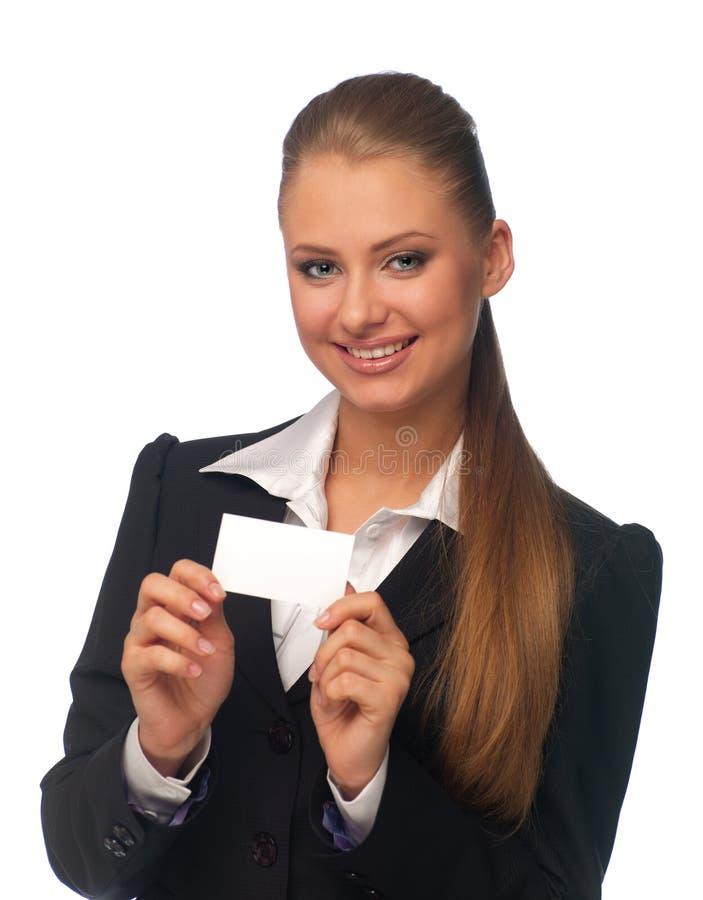Gerente da mulher com um cartão fotos de stock royalty free