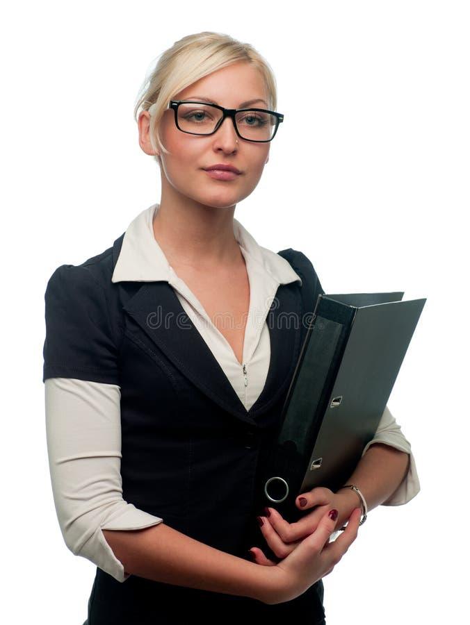 Gerente da mulher com um dobrador imagens de stock
