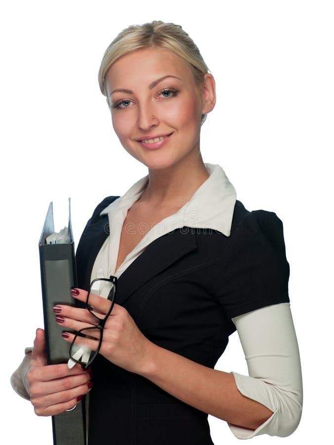 Gerente da mulher com um dobrador imagens de stock royalty free