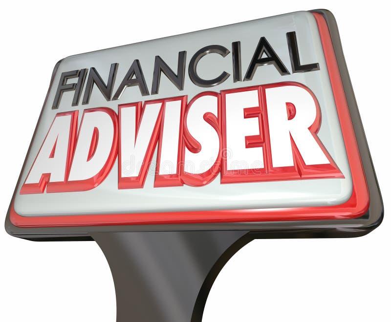 Gerente de dinheiro financeiro de Business Sign Professional do conselheiro ilustração stock