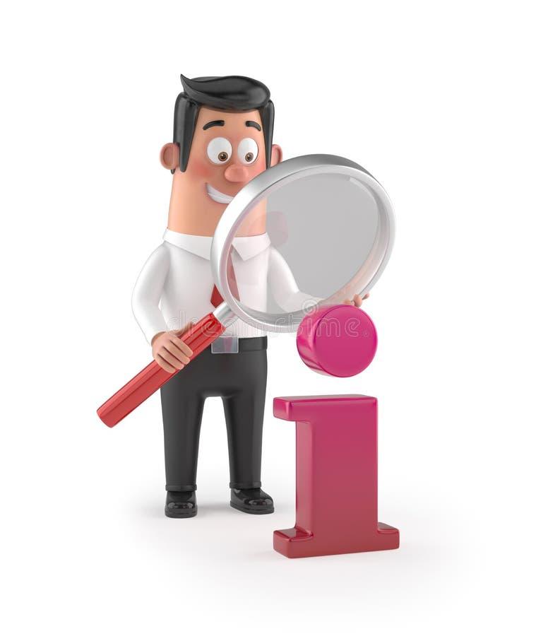 gerente engraçado dos desenhos animados 3D - informação do lupe ilustração do vetor