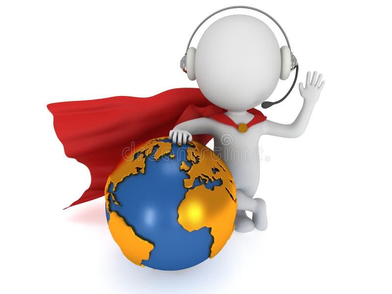gerente global do super-herói 3d ilustração do vetor