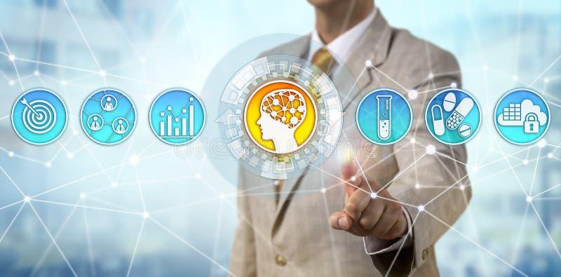 Gerente Initiating Artificial Intelligence de Pharma fotografia de stock royalty free
