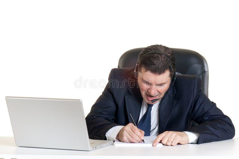 Gerente irritado com caderno imagem de stock