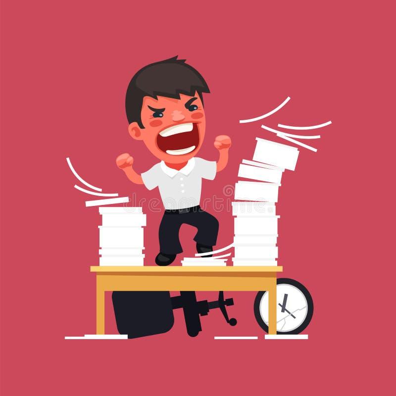 Gerente irritado histérico Working no escritório ilustração do vetor
