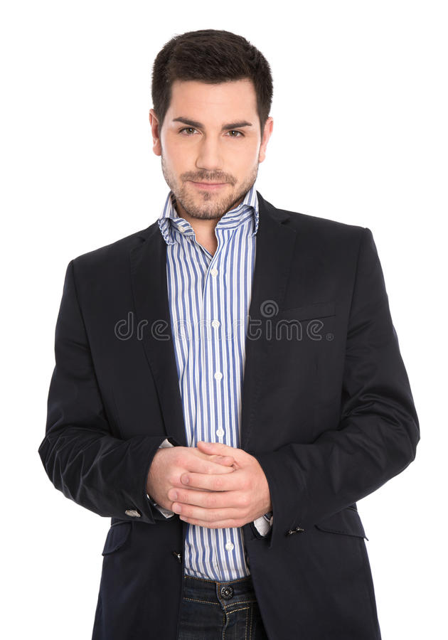 Gerente sério no terno com as mãos dobradas isoladas no branco. fotos de stock royalty free