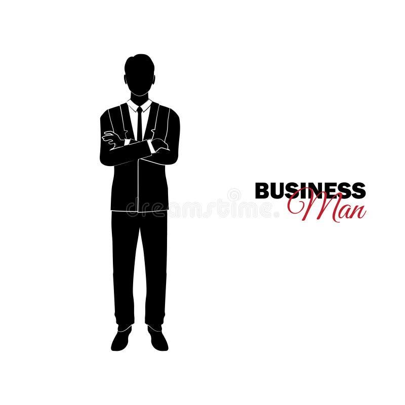 Gerente Um homem em um terno de negócio O homem de negócios dobrou seus braços sobre sua caixa ilustração stock