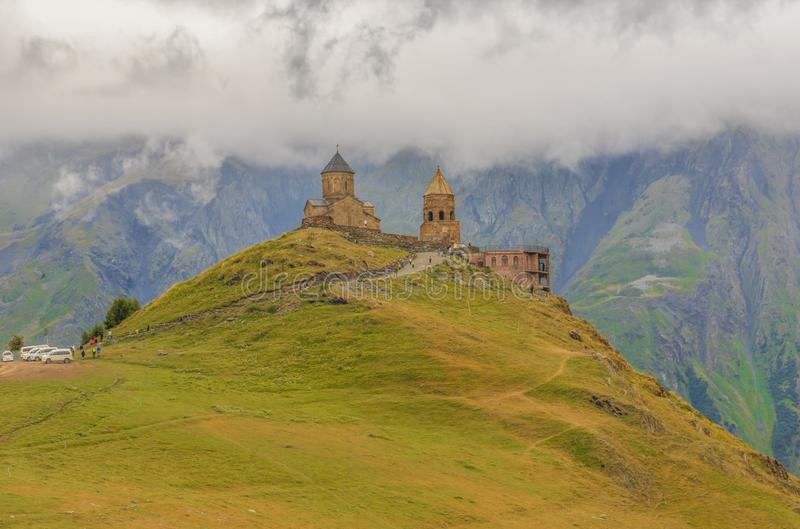 The Gergeti Trinity Church, Georgia stock photo