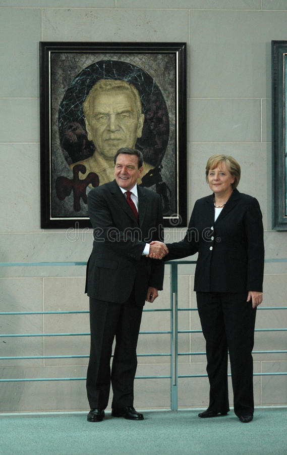 Gerhard Schroeder, Angela Merkel stockfoto