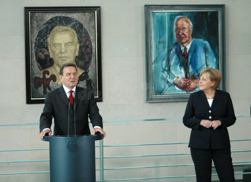 Gerhard Schroeder, Angela Merkel lizenzfreie stockfotografie