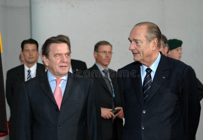 Gerhard Schroeder, Jacques Chirac lizenzfreies stockbild