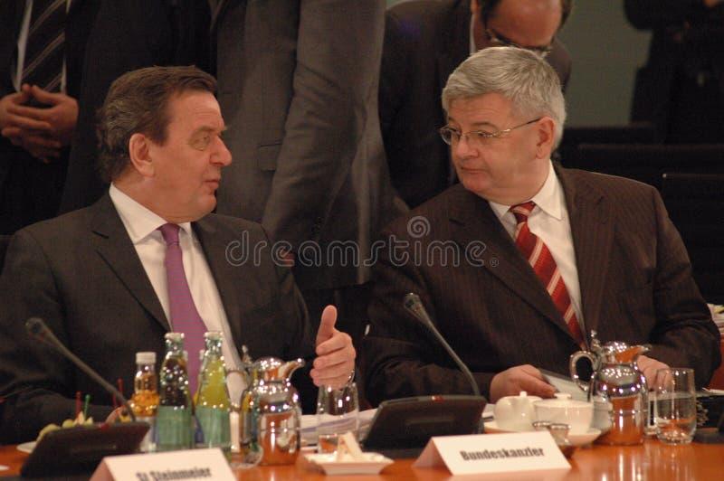 Gerhard Schroeder und Außenminister Joschka Fischer lizenzfreies stockbild