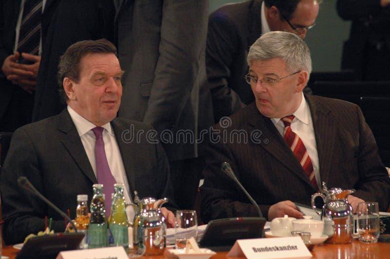 Gerhard Schroeder und Außenminister Joschka Fischer lizenzfreies stockfoto