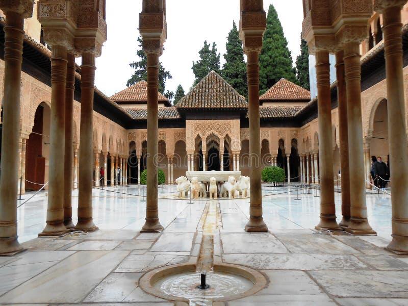 Gericht der Löwen, Alhambra, Granada, Spanien stockfoto
