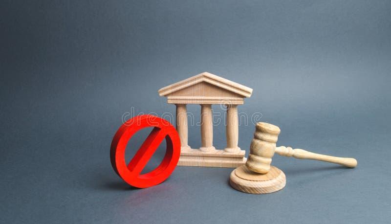 Gericht mit dem Hammer und dem Zeichen des Richters NEIN Konzept der Zensur und die Produktion von Beschränkungen und von Gesetze lizenzfreie stockbilder