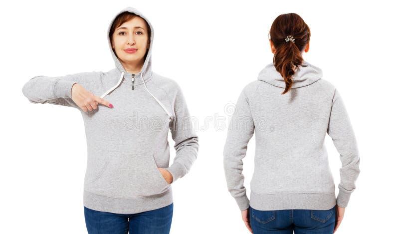 Gerichte modieuze vrouw op middelbare leeftijd in hoodie voor en achtermening, witte die vrouw in sweatshirtmodel op witte achter stock fotografie
