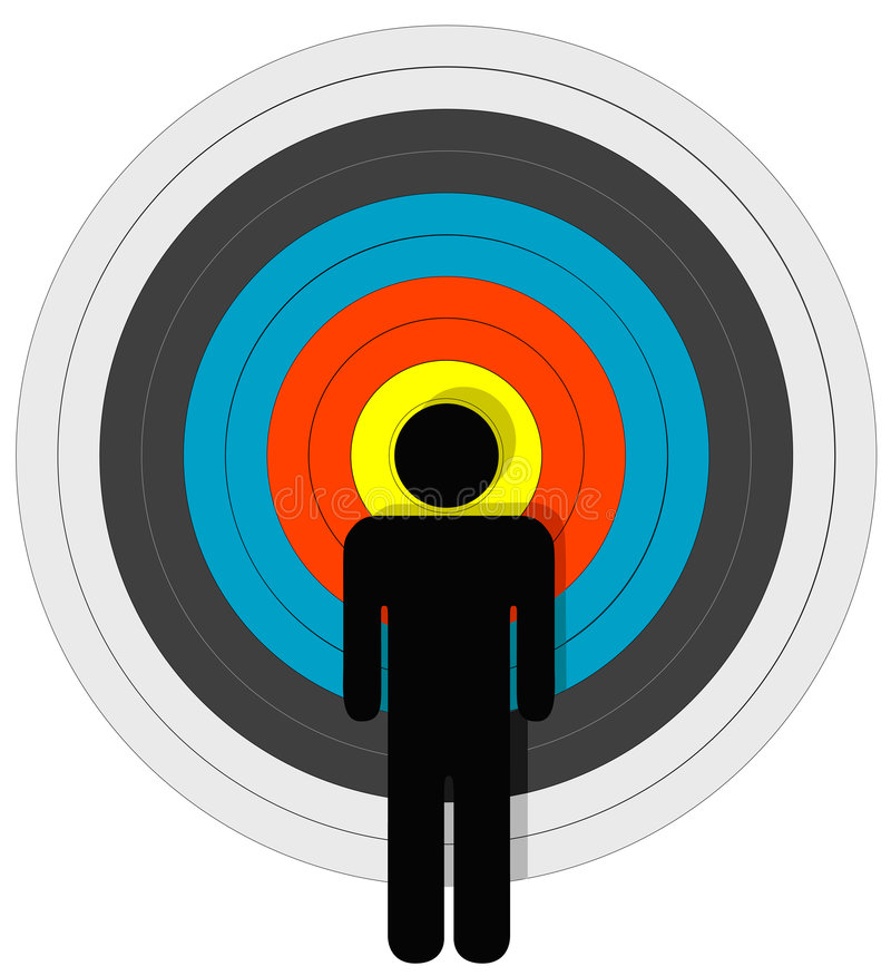 Gerichte Persoon in Bullseye stock illustratie
