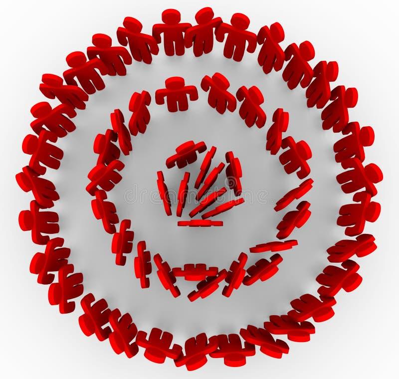 Gerichtete Leute in den roten Ringen des Bullauge vektor abbildung