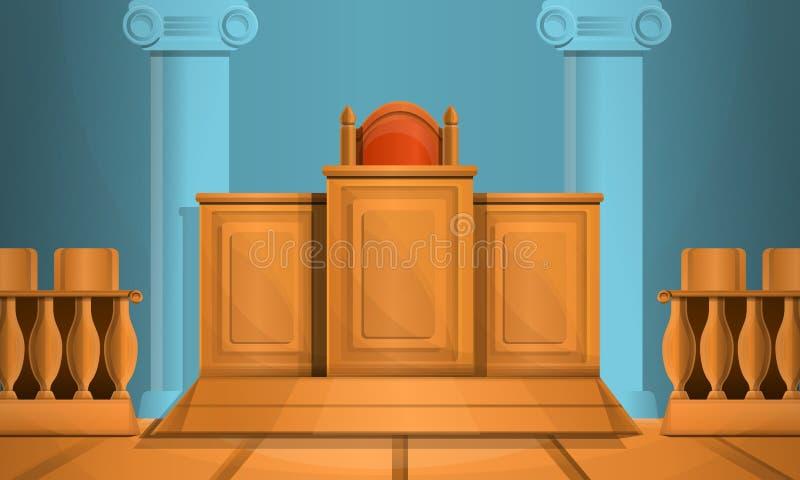 Gerichtkonzepthintergrund, Karikaturart stockfotografie