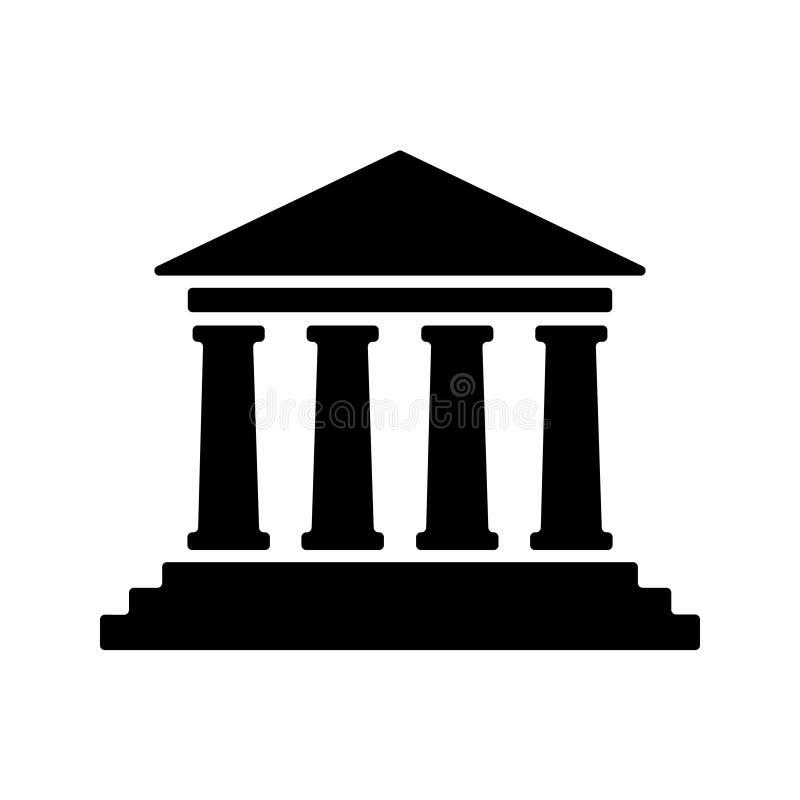 Gerichtsgeb?ude-Vektorikone Gerichtsgebäude-Symbolillustration lizenzfreie abbildung