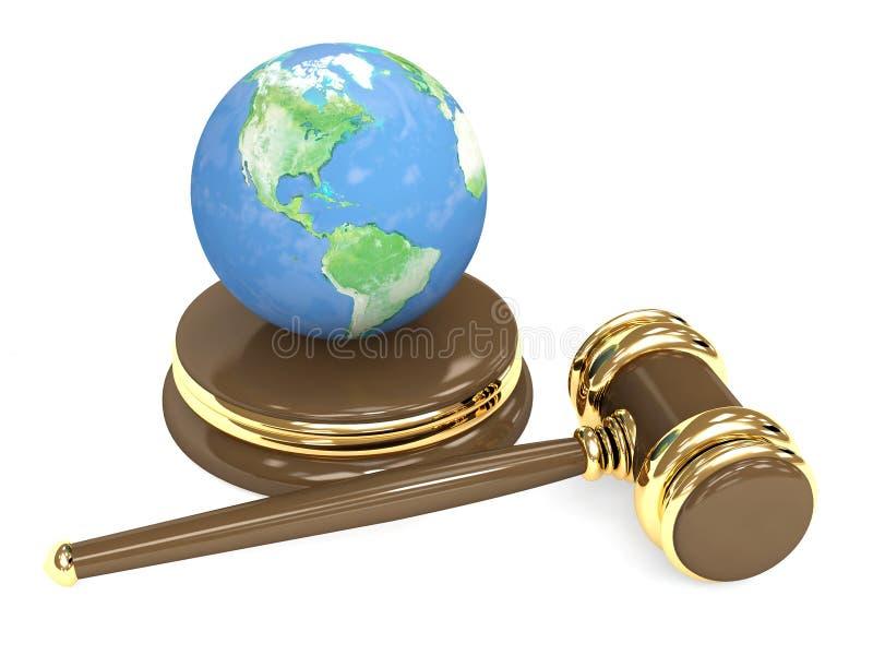 Gerichtshammer 3d und Erde lizenzfreie abbildung