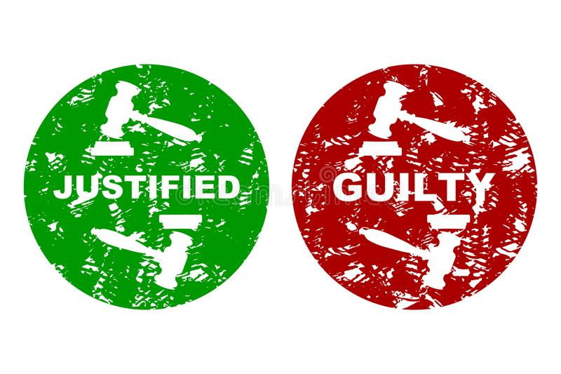 Gerichtspressestempel schuldig und gerechtfertigt lizenzfreie abbildung
