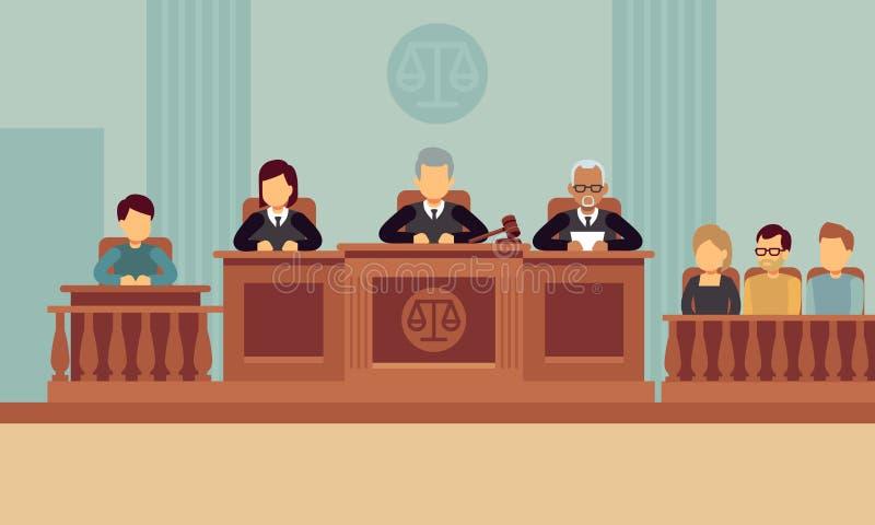 Gerichtssaalinnenraum mit Richtern und Rechtsanwalt Gerechtigkeits- und Gesetzesvektorkonzept stock abbildung