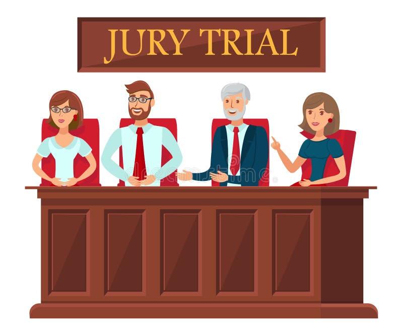 Gerichtsverfahren-Vertreter-flache Fahnen-Schablone stock abbildung
