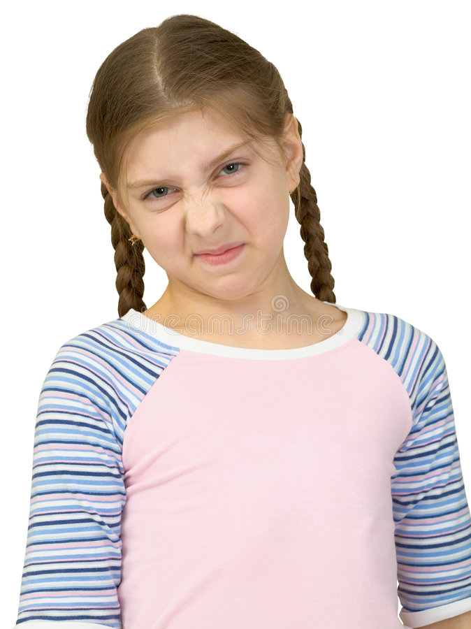 Gerimpeld meisje in een T-shirt royalty-vrije stock fotografie