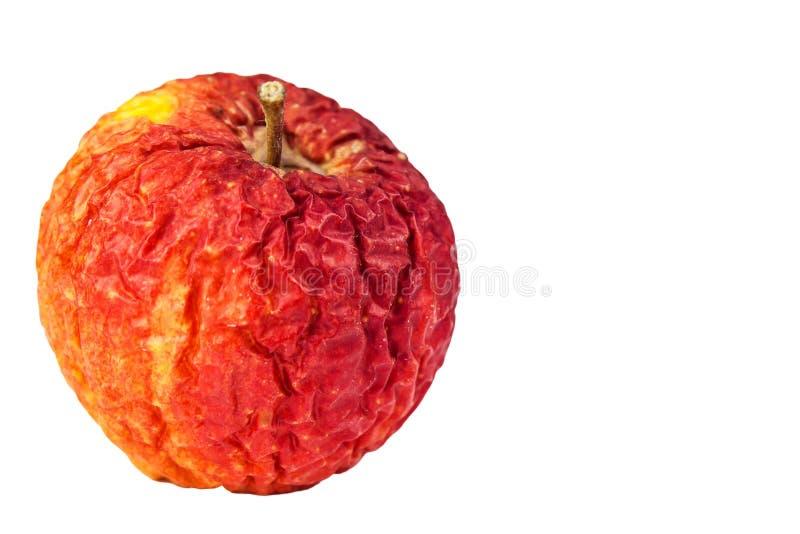 Gerimpelde appeltextuur met witte achtergrond Verschrompelde appel Oude appel Geïsoleerd op wit stock afbeelding
