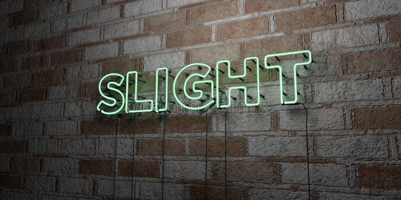 GERINGFÜGIG - Glühende Leuchtreklame auf Steinmetzarbeitwand - 3D übertrug freie Illustration der Abgabe auf Lager stock abbildung