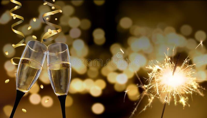 Gerinkelglazen - Nieuwjaar` s Vooravond/viering stock afbeeldingen
