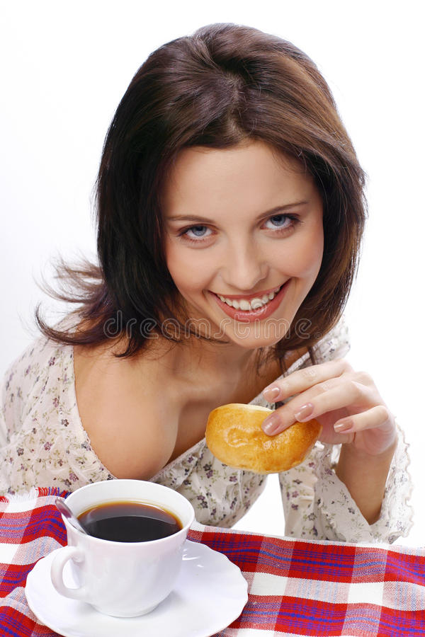 A gerl likes a pie royalty free stock photography