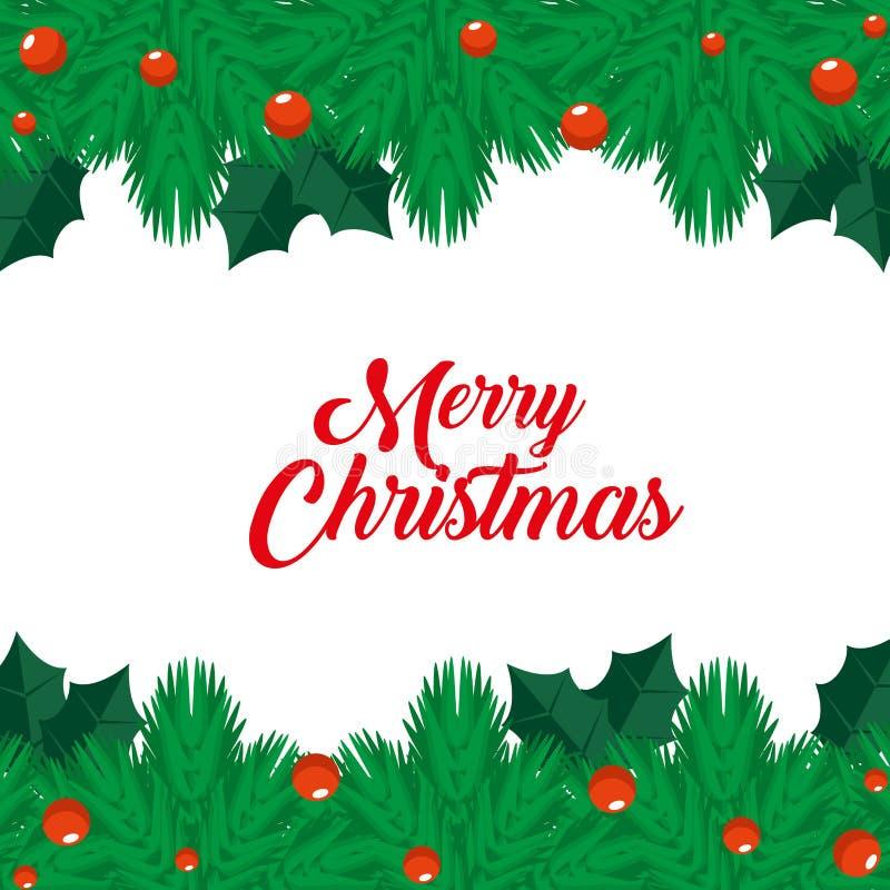 Gerlands met ballendecoratie aan vrolijke Kerstmis stock illustratie