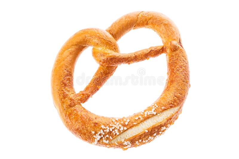 Germal Pretzel traditional German beer snack isolated on white background. stock photo